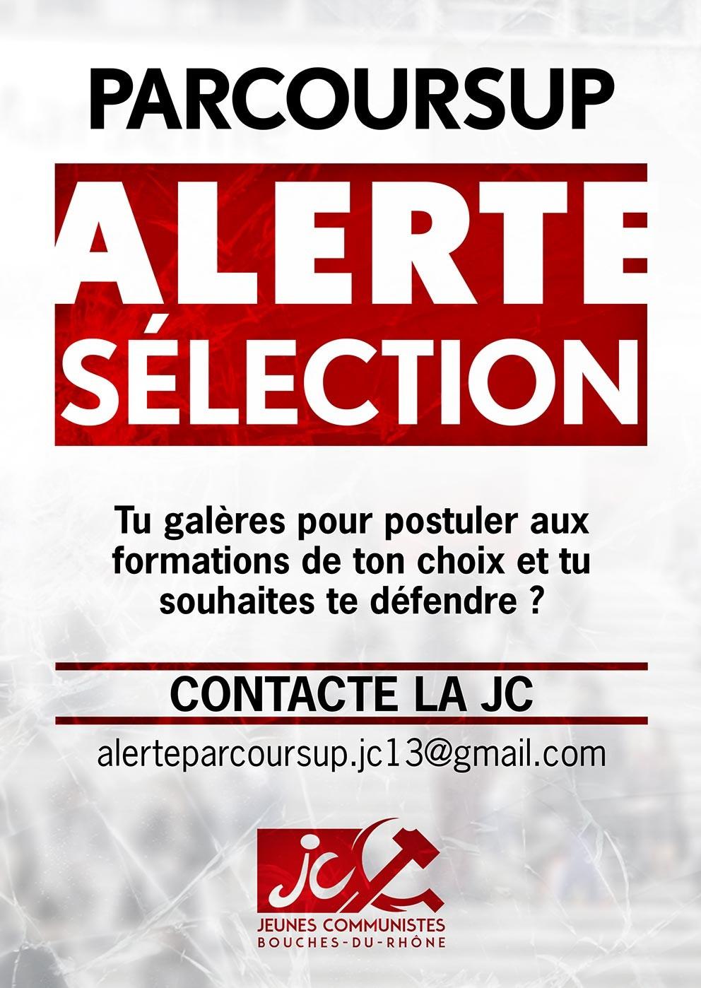 ParcourSup : Alerte sélection