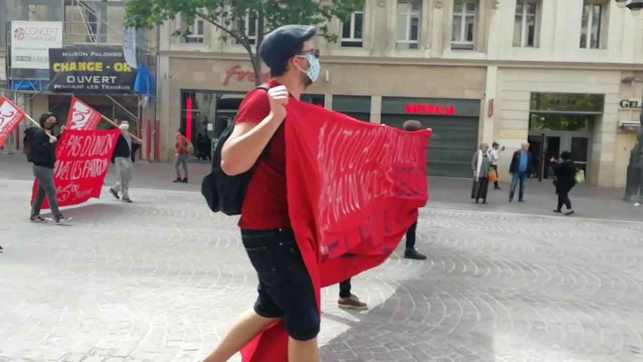 Manifestation sur la canebière